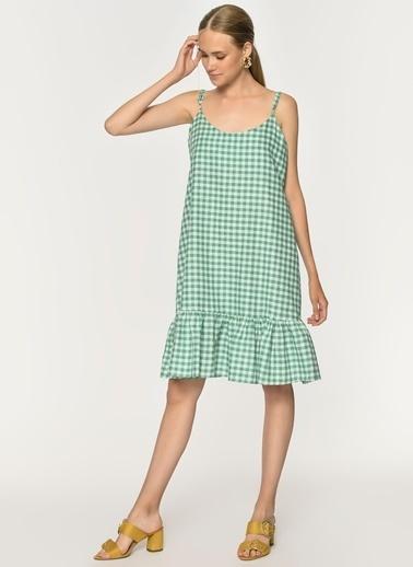 Loves You Volanlı Askılı Keten Elbise Yeşil